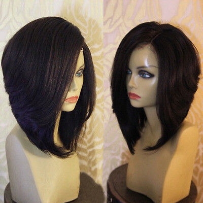 Natural Side Parting High Low Short Bob Straight Synthetic Wig for Fashion Women