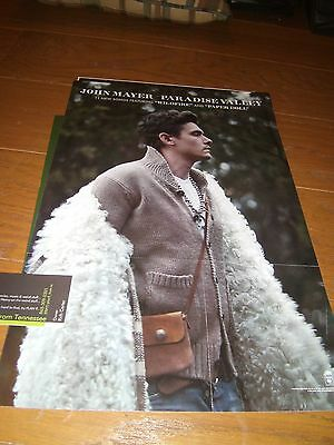 """JOHN MAYER promo poster for PARADISE VALLEY (2 sided) 11""""x17"""" Rare FREE SHIPPING"""