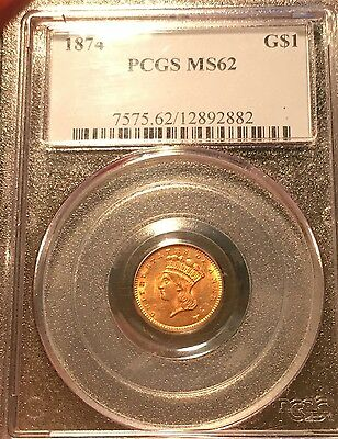 1874 G$1 PCGS MS62 One Dollar Gold