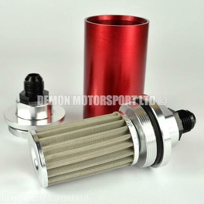 AN8 -8 Billet Aluminium Large High Flow Fuel Filter (Red) 60mm