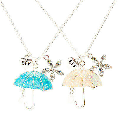 Claire's Girls and Womens Glitter Umbrella Best Friend Necklaces