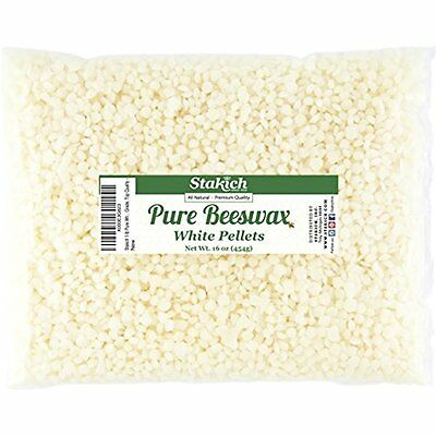 Stakich Pure White BEESWAX Pellets - 100% Natural, Cosmetic Grade, Premium - (1
