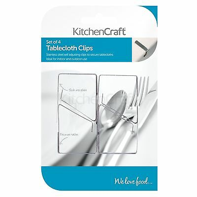 Kitchen Craft Stainless Steel Table Cloth Clip - Set of 4