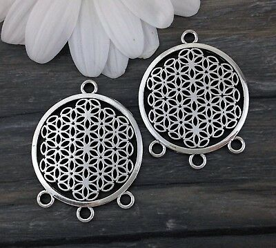 Flower of Life Connector Charms 2/6/10pc - Sacred Geometry - Bulk Pendants CH202