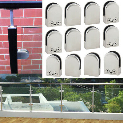 4/12X Glass Clamp Stainless Steel 304 Clip Flat Back Bracket For Handrail 6-12MM
