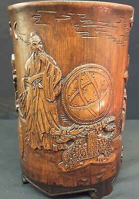 Vintage Chinese Carved Bamboo Brush Pot Signed, Astronomer or Astorloger Figure