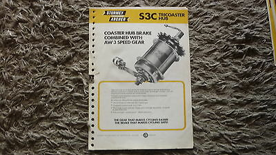 1970s STURMEY ARCHER BICYCLE HUB DEALERS MANUAL & CATALOGUE FOR S3C TRICOASTER