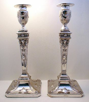 "QUALITY Victorian 12½"" ANTIQUE Adam Style English Silver Plate PAIR Candlesticks"