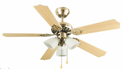 Antique Brass Effect 3 Speed Ceiling Fan with 3 Lights Pull cord control