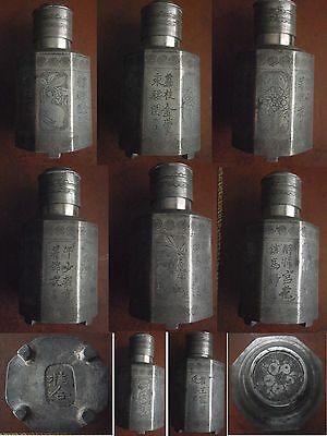 Rare Antique Chinese hand engraved/etched Pewter/Tin Octagonal Tea Caddy >1700s