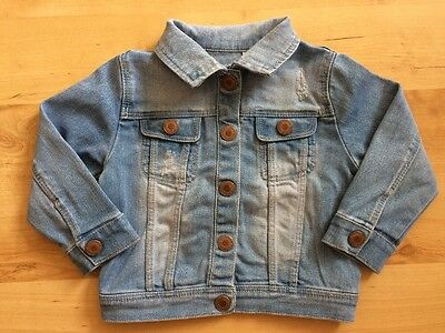 ZARA Baby Girls Light Blue Denim Jacket 12 - 18 Months with poppers to front