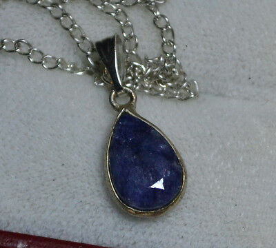 Vintage 14k white Gold genuine Blue Sapphire gemstone antique pendant, Estate