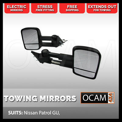 OCAM Extendable Towing Mirrors For Nissan Patrol GU, Black, Electric