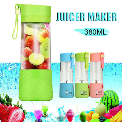 Healthy USB Mini Fruit Juicer Travel Rechargeable Power Blender Juice Cup 380ml