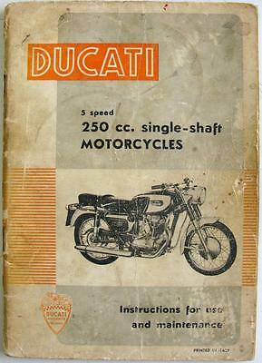 DUCATI 5 Speed 250cc Single Shaft Original Motorcycle Handbook 1964 #Mod. 744/E