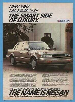 1987 Nissan Maxima GXE Smart side of luxury vintage print car photo ad