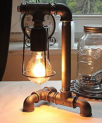 Industrial Up & Over Gimble Lamp / Cast Iron / Desk Bed Table Light / Vintage