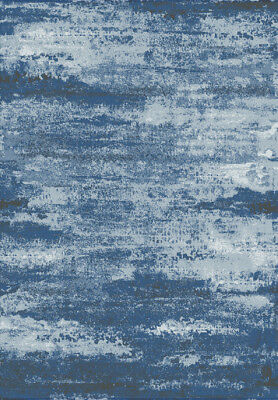 Modern Tribal Tibetan Style BLUE SILVER Faded Silk Like Vintage Distressed Rugs