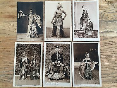 6x postcards Wayang Orang dancers, Sultan, Djokja, Java, Indonesia, bargain set