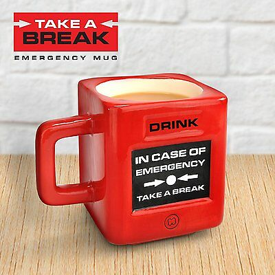 Mustard Take a Break Tea Coffee Novelty Mug - Red Emergency Fire Alarm Gift