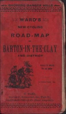 1910? Vintage Ward's New Cycling Road Map Barton-in-the-Clay scarce