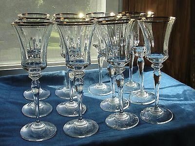 12 Mikasa Jamestown Gold Wine Crystal Glasses