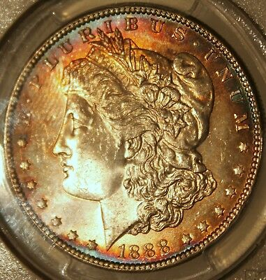 ~☆rainbow BOTH sides☆~ 1888 MS-64 Morgan Silver Dollar PCGS Awesome coin!