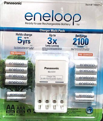 Panasonic Eneloop Recharge Battery Charger + 8 Aa + 4 Aaa Batteries Nimh1