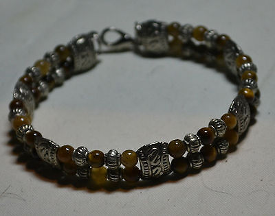 Vintage Sterling Silver genuine Estate genuine Tiger's Eye stones bracelet