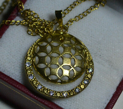 Vintage 14k Gold genuine genuine White Sapphires antique pendant, Estate