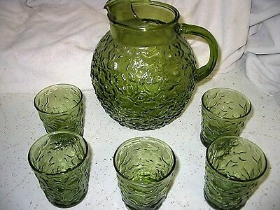 vintage glass tumblers pitcher green depression anchor hocking lido milano maybe