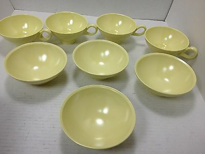 Boontonware 1950's Cups/ Mugs, Bowls Pale Yellow Set of 4 Melmac Melamine