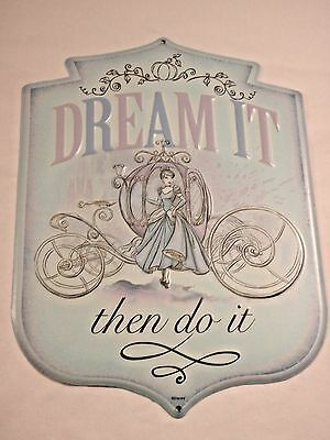"""Disney 10"""" x 14"""" Wall Sign Cinderalla """"Dream It Then Do It"""" Embossed Metal New"""