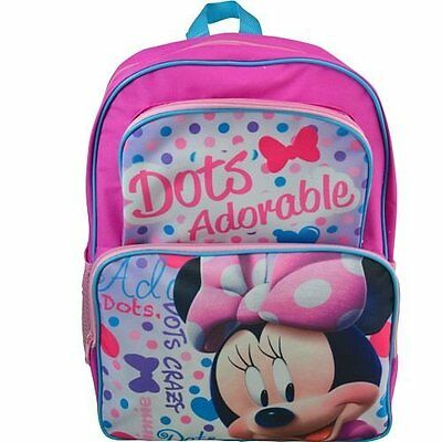 "Disney Junior Girl's Minnie Mouse Dots Adorable 16"" School Bag Backpack-Pink"