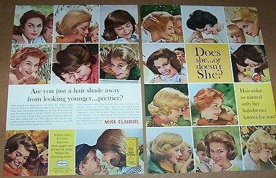 1964 vintage ad - Miss Clairol hair color Pretty ladies kids 2-PAGE print ADVERT