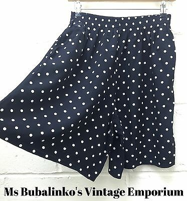 Vintage 90s Black Polka Dot High Waist Culottes Shorts Size 12 14 Retro Boho
