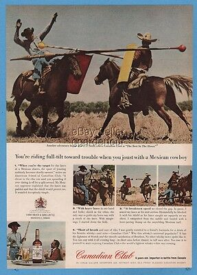 1964 Mexican charro cowboy jousting Canadian Club Whiskymagazine print ad