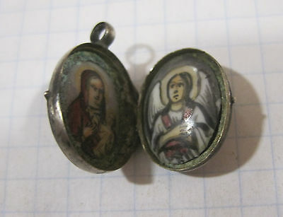 Russian Orthodox Antique Pendant Imperial Sterling Silver 84 icon Enamel FINIFT