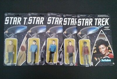 Lot of 5 ReAction Star Trek Figures Capt Kirk, Spock, Dr. Mccoy, Scotty, Uhura