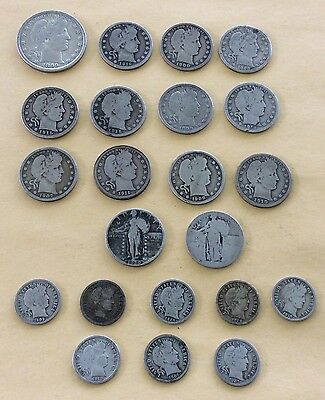 Lot of 13.15 Face Value 90% Silver Coins Barber Standing Liberty Mercury