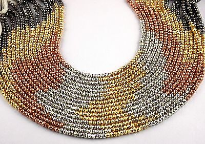 """2 Strand Natural Multi Pyrite 3.5-4mm Faceted Rondelle Gemstone Beads 13"""" Long"""