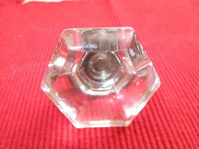 """Large Antique Brass & Faceted Glass Hexagon Drawer Pull Knob  2"""" Wide Victorian"""