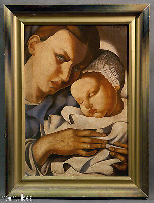 "Mother & Child Oil Painting Oil On Canvas  20"" X 28.5"" Signed Tamara Lempicka"
