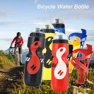 Mountain Bike Bicycle Cycling Water Drink Bottle 750ML + Holder Cage Portable UK