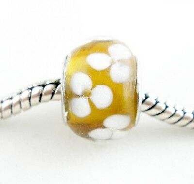 Amber Evil Eye Protection Lampwork Glass Large 5mm Hole European Charm Beads 2pc