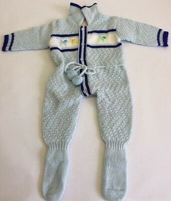 Vtg Babies Crocheted  One Piece Knit Outfit 0-6 Mos Childs Vintage Knit Coverall
