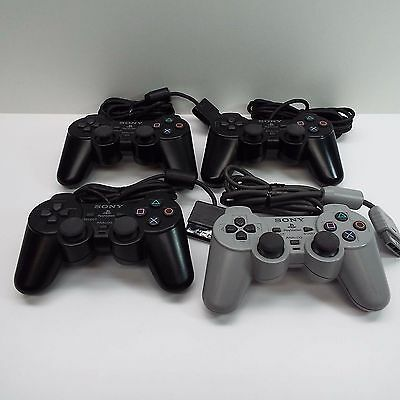 Sony Playstation 1 & 2 Controller Lot Of 4 (For Parts Or Repair) T44