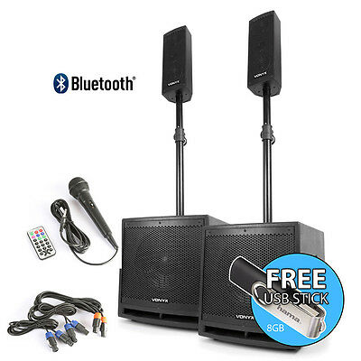 Pair Active Bluetooth PA System Speakers Subs Poles 1000W *FREE 8GB USB STICK*