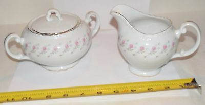 Vintage Lovely Fine China Sugar Bowl & Creamer Set - 38 28 Mary Ann - Japan