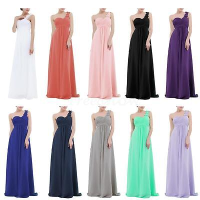Womens One-shoulder Chiffon Evening Gown Bridesmaid Dresses Formal Party Dress